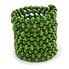 Wide Wood and Glass Bead Coil Flex Bracelet In Green - Adjustable