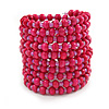 Wide Wood and Glass Bead Coil Flex Bracelet In Pink - Adjustable