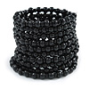 Wide Wood and Glass Bead Coil Flex Bracelet In Black - Adjustable