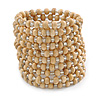 Wide Natural Wood and Transparent Glass Bead Coil Flex Bracelet - Adjustable