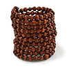 Wide Wood and Glass Bead Coil Flex Bracelet In Brown - Adjustable