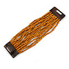 Burnt Orange Glass Bead Multistrand Flex Bracelet With Wooden Closure - 19cm L