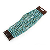 Dusty Light Blue Glass Bead Multistrand Flex Bracelet With Wooden Closure - 19cm L