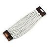 White Glass Bead Multistrand Flex Bracelet With Wooden Closure - 19cm L