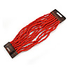 Burnt Red Glass Bead Multistrand Flex Bracelet With Wooden Closure - 19cm L