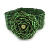 Statement Beaded Flower Stretch Bracelet In Apple Green - 18cm L - Adjustable