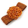 Statement Beaded Flower Stretch Bracelet In Burnt Orange - 18cm L - Adjustable