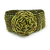 Statement Beaded Flower Stretch Bracelet In Lime Green - 18cm L - Adjustable
