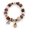Trendy Glass and Shell Bead, Gold Tone Metal Rings Flex Bracelet (Pink, White, Gold) - 17cm L