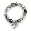 Trendy Semiprecious Stone and Silver Tone Metal Charm Flex Bracelet (Black, Grey, Silver) - 17cm L