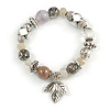 Trendy Semiprecious Stone and Silver Tone Metal Charm Flex Bracelet (Light Coffee, White, Silver) - 17cm L