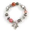 Trendy Semiprecious Stone and Silver Tone Metal Charm Flex Bracelet (Pink, White, Silver) - 17cm L