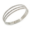 Delicate 3 Strand Clear Crystal Flex Cuff Bracelet in Silver Tone Metal - Adjustable