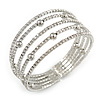 Delicate 5 Row Clear Crystal Flex Cuff Bracelet With Silver Tone Ball Bead - Adjustable