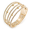 Delicate 5 Row Clear Crystal Flex Cuff Bracelet With Gold Tone Ball Bead - Adjustable