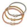 Set Of 3 Mesh Flex Bracelets with Crystal Cross Element in Gold/ Silver/ Rose Gold - 19cm L