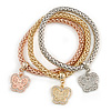 Set Of 3 Thick Mesh Flex Bracelets with Butterfly Charm in Gold/ Silver/ Rose Gold - 19cm L
