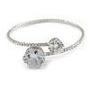 Delicate Silver Tone Clear Crystal Slim Flex Bracelet - Adjustable