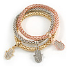 Set Of 3 Thick Mesh Flex Bracelets with Crystal Hamsa Hand Charm in Gold/ Silver/ Rose Gold - 19cm L