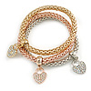 Set Of 3 Thick Mesh Flex Bracelets with Heart/ Keylock Charm in Gold/ Silver/ Rose Gold - 19cm L