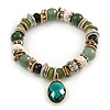 Trendy Ceramic and Semiprecious Bead, Gold/ Silver Tone Metal Rings Flex Bracelet (Olive, Green, Black, Natural) - 18cm L