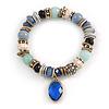 Trendy Ceramic and Semiprecious Bead, Gold/ Silver Tone Metal Rings Flex Bracelet (Blue, Mint, Natural) - 18cm L