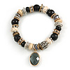 Trendy Ceramic and Semiprecious Bead, Gold/ Silver Tone Metal Rings Flex Bracelet (Black, Grey, Natural) - 18cm L