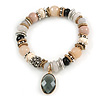 Trendy Ceramic and Semiprecious Bead, Gold/ Silver Tone Metal Rings Flex Bracelet (Cream, Beige, Natural, Black) - 18cm L