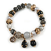 Trendy Glass and Semiprecious Bead, Gold Tone Metal Rings Flex Bracelet (Black, Grey) - 18cm L