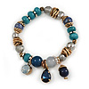 Trendy Glass and Semiprecious Bead, Gold Tone Metal Rings Flex Bracelet (Teal, Blue, Grey) - 18cm L