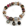 Trendy Glass and Semiprecious Bead, Gold Tone Metal Rings Flex Bracelet (Black, Grey, Purple) - 18cm L