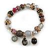 Trendy Glass and Semiprecious Bead, Gold Tone Metal Rings Flex Bracelet (Black, Grey, Purple) - 18cm L