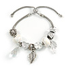Trendy Glass, Crystal, Metal Bead Charm Chain Bracelet In Silver Tone (White/ Clear) - 15cm L/ 3cm Ext