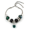 Trendy Glass, Crystal, Metal Bead Charm Chain Bracelet In Silver Tone (Black/ Green) - 15cm L/ 3cm Ext