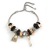 Trendy Glass, Crystal, Metal Bead Charm Chain Bracelet In Silver Tone (Gold/ Black/ Silver) - 15cm L/ 3cm Ext