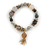 Trendy Ceramic, Glass and Semiprecious Bead, Gold/ Silver Tone Metal Rings, Charm Flex Bracelet (Black, Grey) - 18cm L