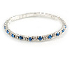 Slim Sky Blue/ Clear Crystal Flex Bracelet In Silver Tone Metal - up to 17cm L - For Small Wrist