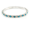 Slim Aqua/ Clear Crystal Flex Bracelet In Silver Tone Metal - up to 17cm L - For Small Wrist
