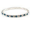 Slim Teal/ Clear Crystal Flex Bracelet In Silver Tone Metal - up to 17cm L - For Small Wrist