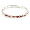 Slim Fuchsia Pink/ Clear Crystal Flex Bracelet In Silver Tone Metal - up to 17cm L - For Small Wrist
