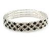 Black/ Clear Flex Bracelet in Silver Tone - 17cm L