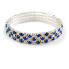 Sapphire Blue/ Clear Flex Bracelet in Silver Tone - 17cm L
