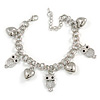 Statement Owl/ Heart Charm with Chunky Chain Bracelet In Silver Tone - 19cm L/ 5cm Ext