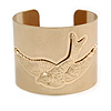 Wide Brushed Gold With Swallow Bird Cuff Bangle Bracelet - 20cm Long