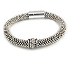 Vintage Inspired Snowflake Bead with Crystal Ring Magnetic Bracelet in Aged Silver Tone - 17cm Long