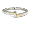 Rhodium Plated Gold Screw Element Oval Magnetic Bangle Bracelet - 18cm L