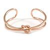 Modern Polished Knot Cuff Bangle Bracelet in Rose Gold Tone - 19cm Long