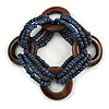 Multistrand Denim Blue Glass Bead with Wooden Rings Flex Bracelet - Medium