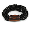 Multistrand Black Glass Bead with Brown Wooden Bead Flex Bracelet - Medium