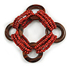 Multistrand Red-Brown Glass Bead with Wooden Rings Flex Bracelet - Medium